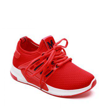 All-Match Cloth Shoes Lace White Sneakers Shoes - RED RED