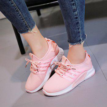 All-Match Cloth Shoes Lace White Sneakers Shoes - PINK PINK