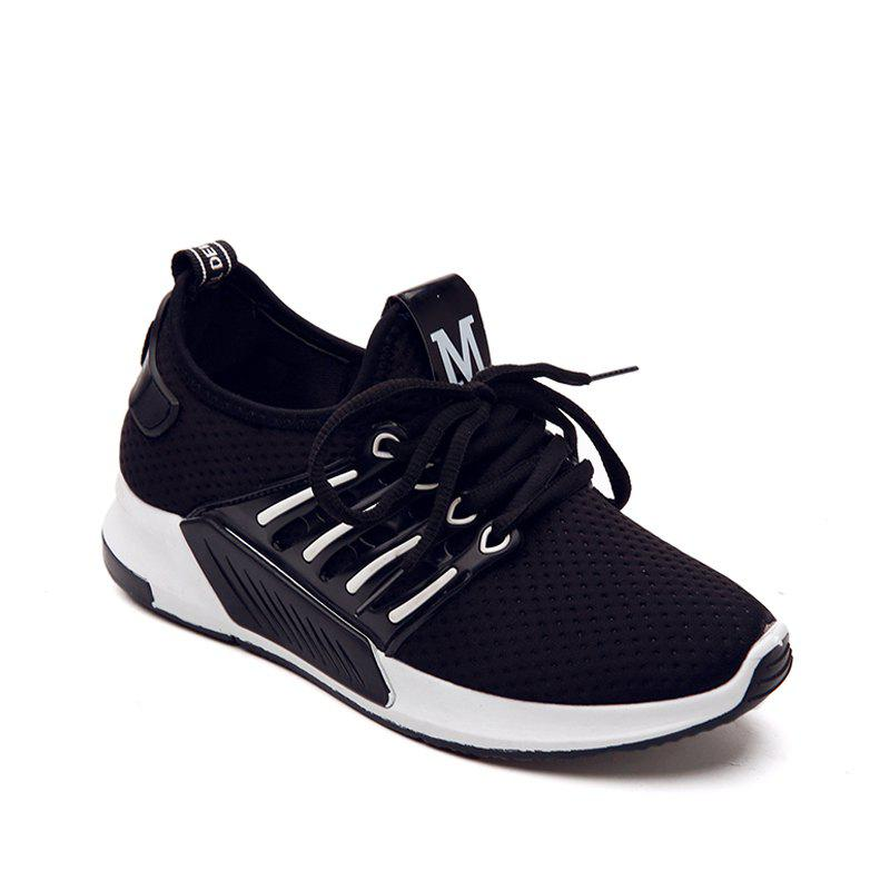 All-Match Cloth Shoes Lace White Sneakers Shoes - BLACK 36