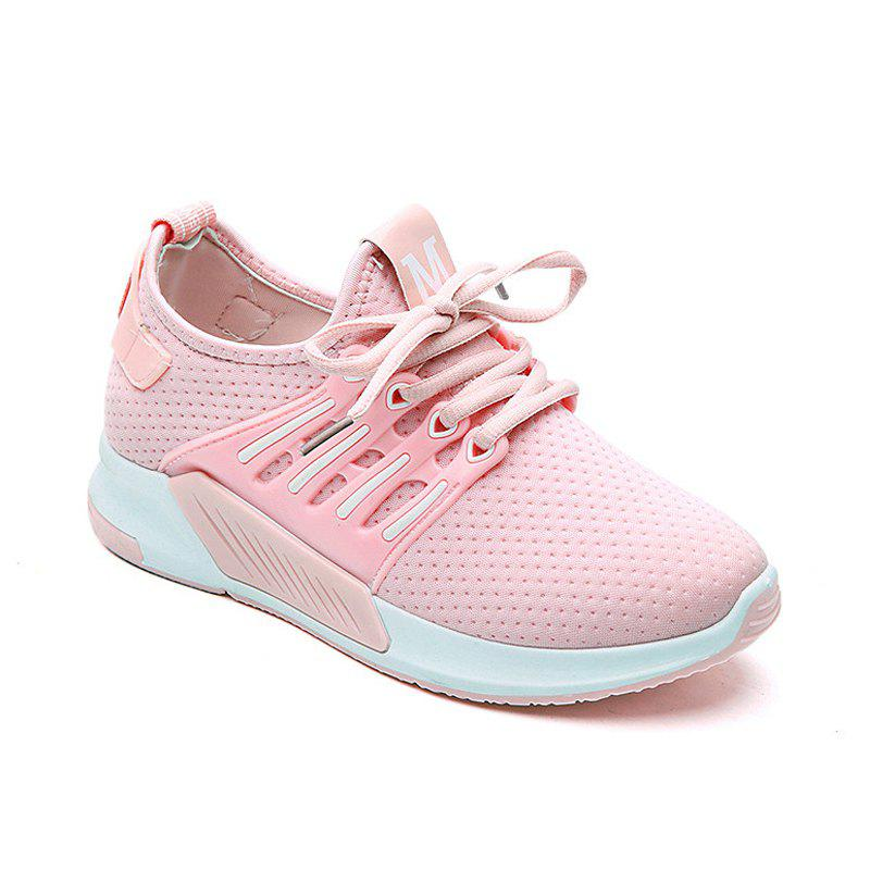 All-Match Cloth Shoes Lace White Sneakers Shoes - PINK 37