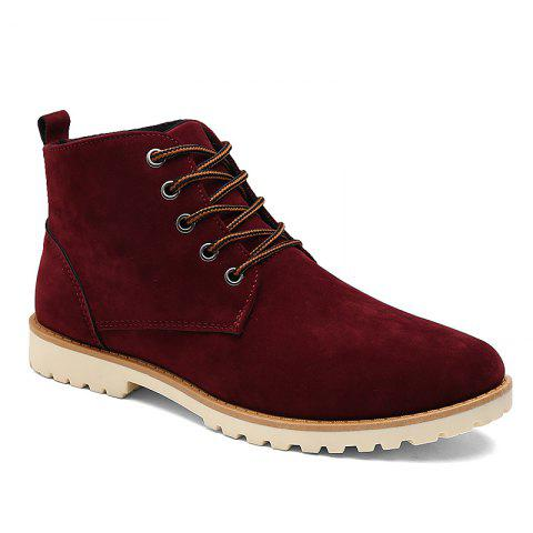 Men New Fashion Casual Shoes Lace-Up Ankle Boots Size 39-44 - WINE RED 39
