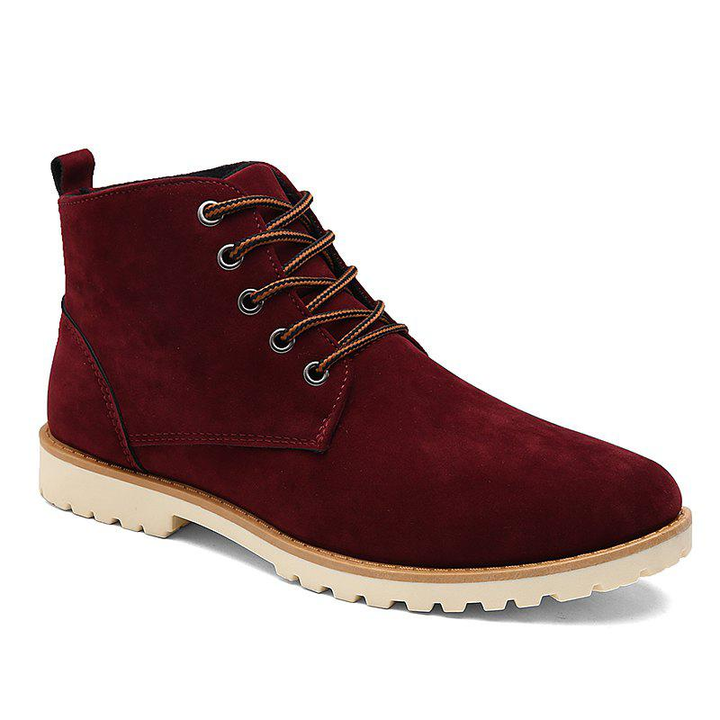 Men New Fashion Casual Shoes Lace-Up Ankle Boots Size 39-44 - WINE RED 41
