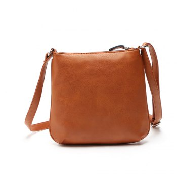 Vintage Zipper Solid Color Small Crossbody Bag - 1PC 1PC