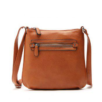 Vintage Zipper Solid Color Small Crossbody Bag - BROWN 1PC
