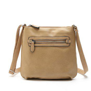 Vintage Zipper Solid Color Small Crossbody Bag - APRICOT 1PC