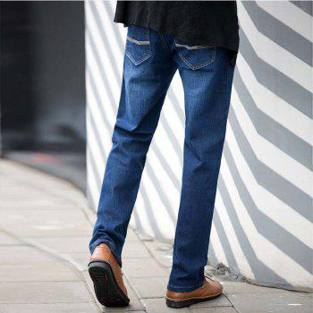 Baiyuan Trousers Slim Fit Denim Jeans Blue - 34 34