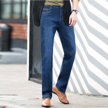 Baiyuan Trousers Slim Fit Denim Jeans Blue - 30 30