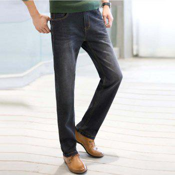 Baiyuan Trousers Business Casual Mens Jeans Black - BLACK R 34