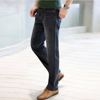 Baiyuan Trousers Business Casual Mens Jeans Black - BLACK R 38