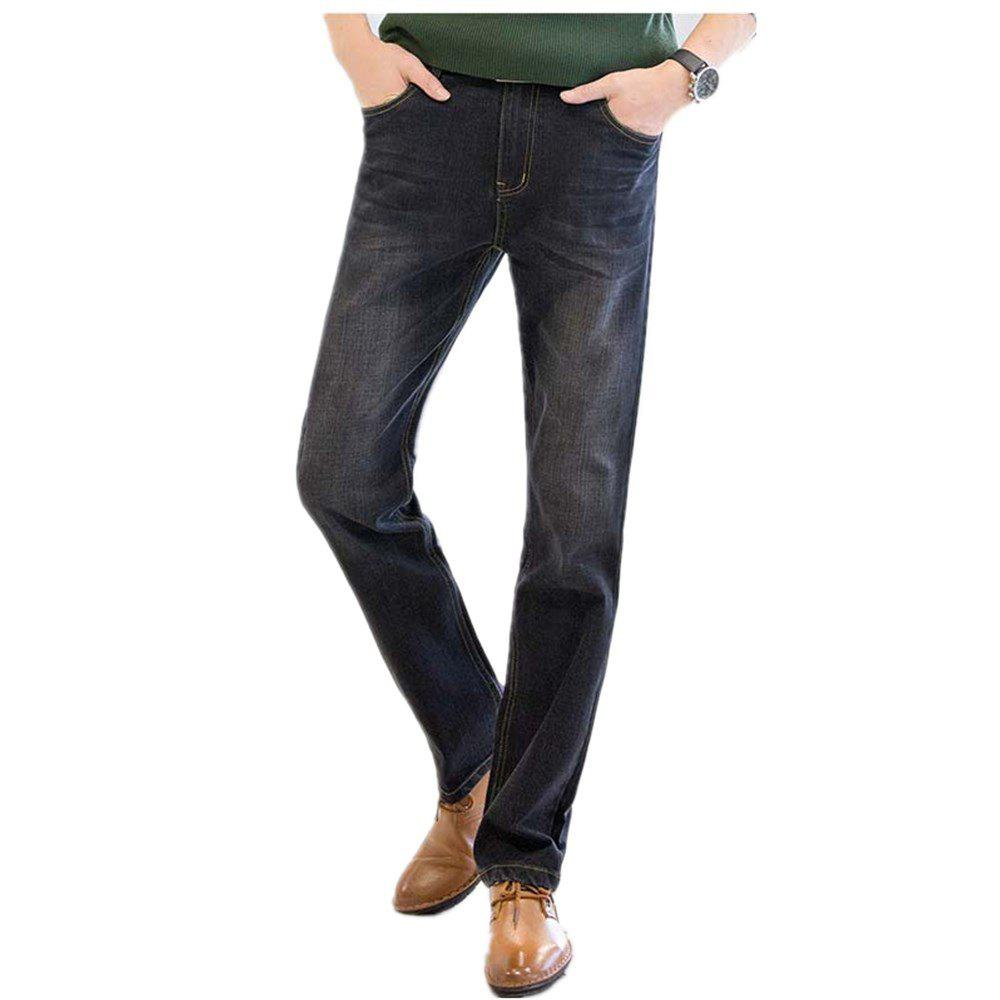 Baiyuan Trousers Business Casual Mens Jeans Black - BLACK R 36