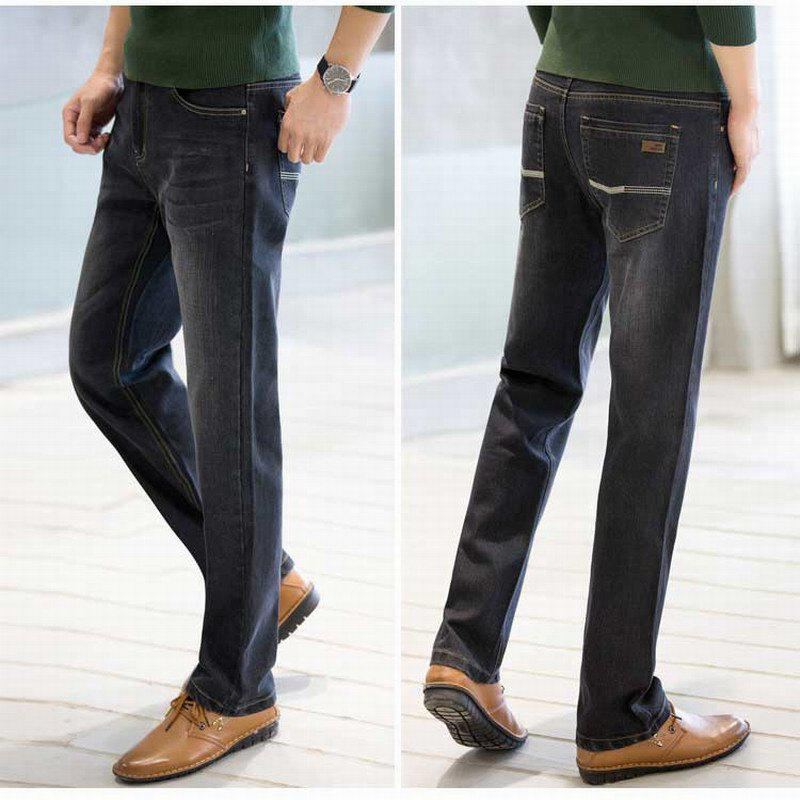 Baiyuan Trousers Business Casual Mens Jeans Black - BLACK R 30