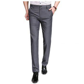 Baiyuan Trousers Bussiness Casual Slim Fit Mens Suit Pants Grey - GREY T4503/1001# 30