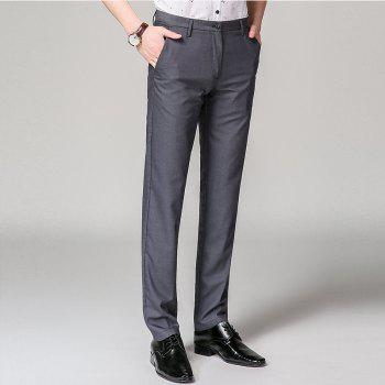Baiyuan Trousers Bussiness Casual Slim Fit Mens Suit Pants Grey - GREY T / 40
