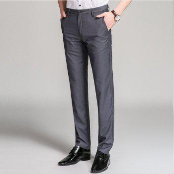 Baiyuan Trousers Bussiness Casual Slim Fit Mens Suit Pants Grey - GREY T / 30