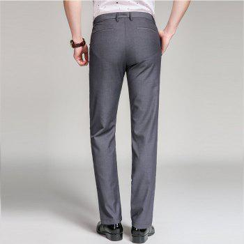 Baiyuan Trousers Bussiness Casual Slim Fit Mens Suit Pants Grey - GREY T / 29