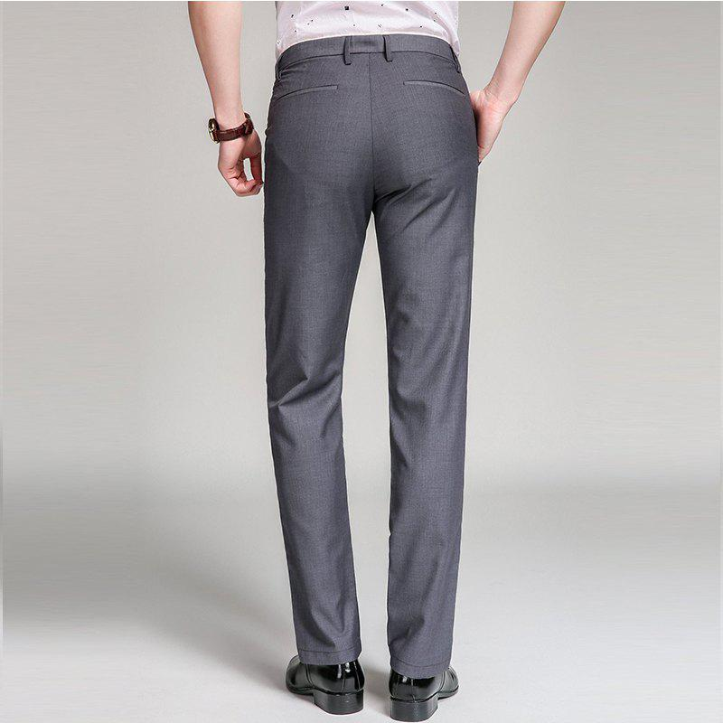 Baiyuan Trousers Bussiness Casual Slim Fit Mens Suit Pants Grey - GREY T / 33