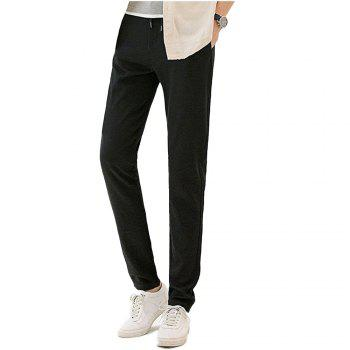 Baiyuan Trousers Autumn Fashion Casual Slim Fit Mens Long Pants Black - BLACK 2R2610# BLACK R