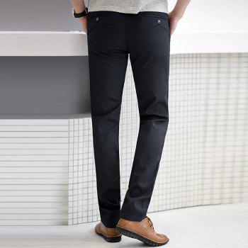 Baiyuan Trousers Autumn Business Casual Slim Fit Mens Suit Pants Black - BLACK R 34