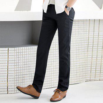 Baiyuan Trousers Autumn Business Casual Slim Fit Mens Suit Pants Black - BLACK R 30
