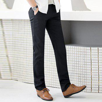 Baiyuan Trousers Autumn Business Casual Slim Fit Mens Suit Pants Black - BLACK R 32