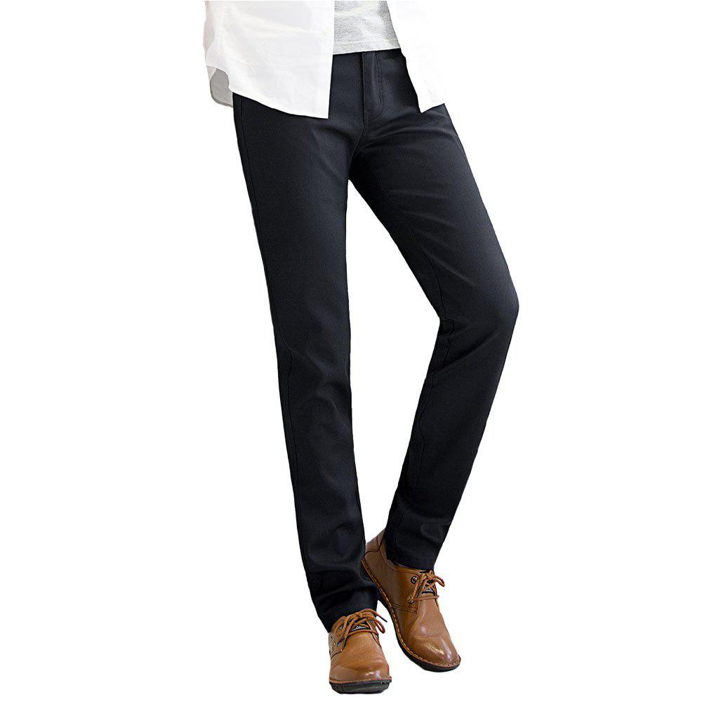 Baiyuan Trousers Autumn Business Casual Slim Fit Mens Suit Pants Black - BLACK R 40