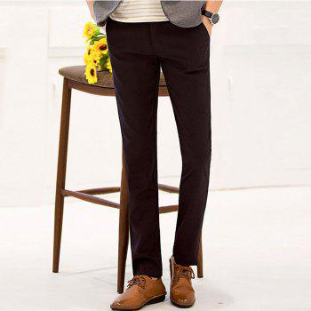 Baiyuan Trousers Autumn Business Casual Slim Fit Mens Suit Pants Red Wine - RED WINE 30