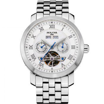 HOLUNS 4612 Business Steel Band Mechanical Men Watch - WHITE WHITE
