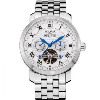 HOLUNS 4612 Business Steel Band Mechanical Men Watch - BLUE AND WHITE BLUE/WHITE