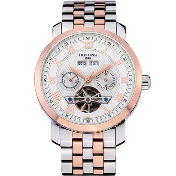 HOLUNS 4612 Business Steel Band Mechanical Men Watch - WHITE AND ROSE GOLD WHITE/ROSE GOLD