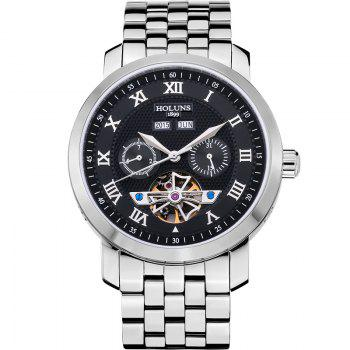 HOLUNS 4612 Business Steel Band Mechanical Men Watch - WHITE AND BLACK WHITE/BLACK