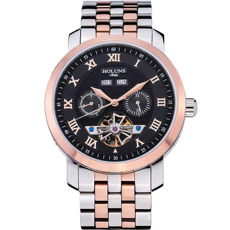 HOLUNS 4612 Business Steel Band Mechanical Men Watch - Noir et Rose OR