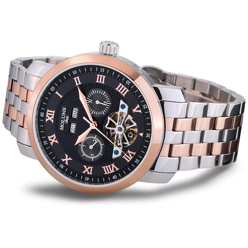 HOLUNS 4612 Business Steel Band Mechanical Men Watch - BLACK/ROSE GOLD