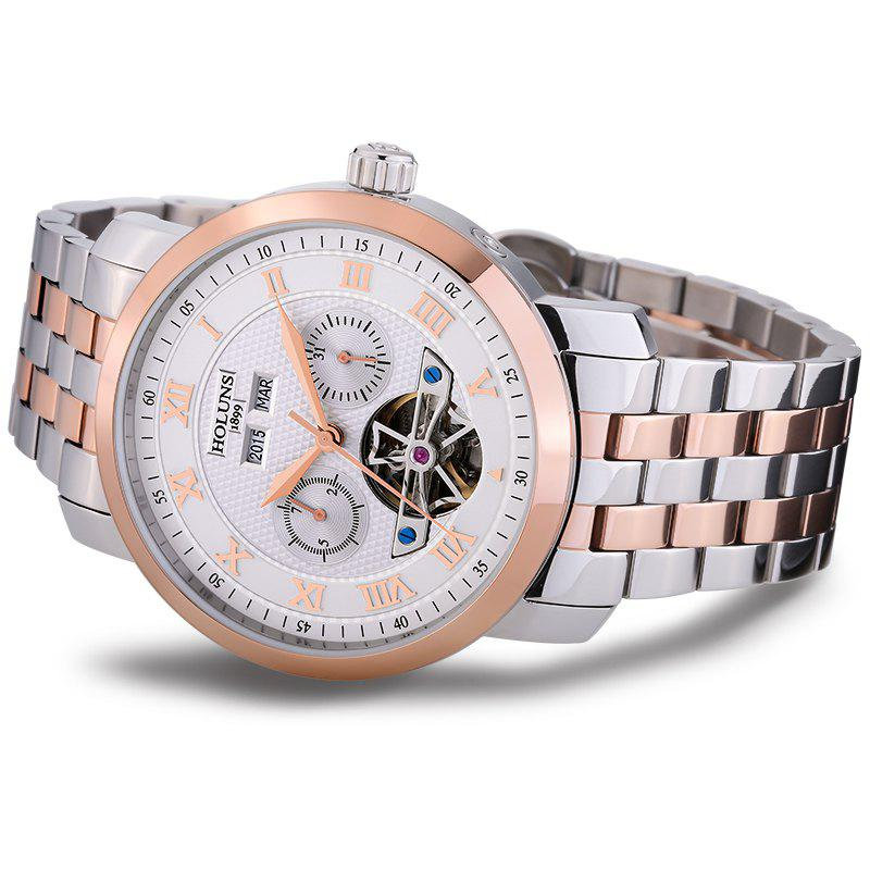 HOLUNS 4612 Business Steel Band Mechanical Men Watch - Blanc et Rose Or