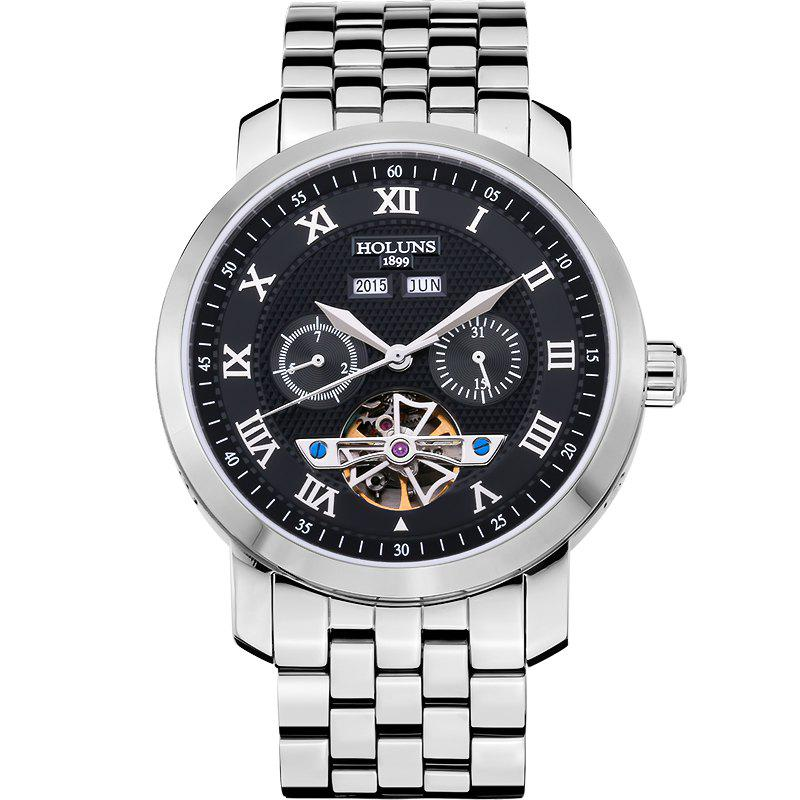 HOLUNS 4612 Business Steel Band Mechanical Men Watch - WHITE/BLACK