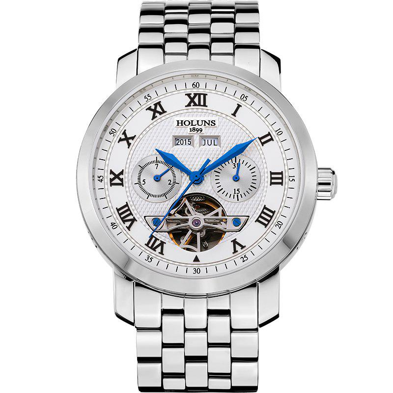 HOLUNS 4612 Business Steel Band Mechanical Men Watch - BLUE/WHITE