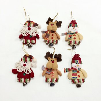 6Pcs Good  Quality Christmas Ornaments with Small Bell - COLORMIX COLORMIX