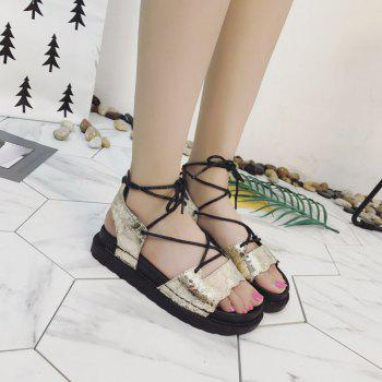 The New Fashionable Xia Jioping Heel Shoe of Platform Sandals - GOLDEN GOLDEN