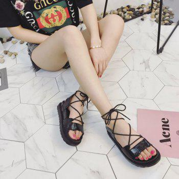 The New Fashionable Xia Jioping Heel Shoe of Platform Sandals - BLACK 35