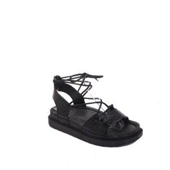 The New Fashionable Xia Jioping Heel Shoe of Platform Sandals - BLACK BLACK