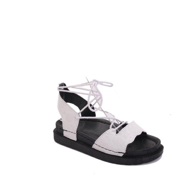 The New Fashionable Xia Jioping Heel Shoe of Platform Sandals - WHITE 36