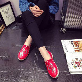 Casual Leather Platform Shoes - RED RED