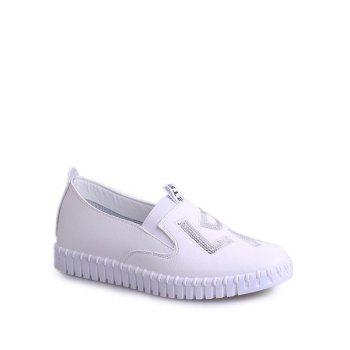Casual Leather Platform Shoes - WHITE 39