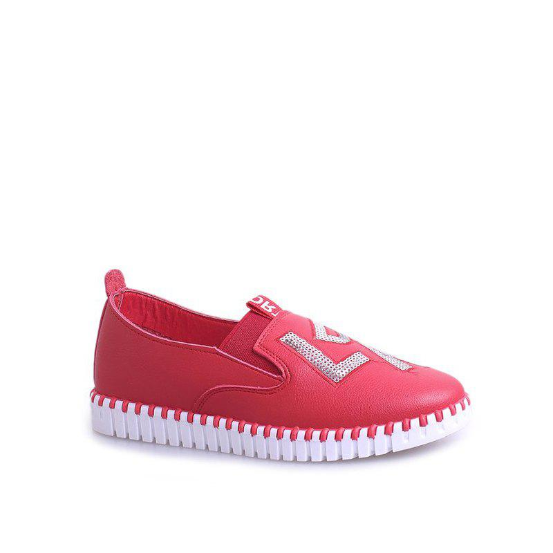 Casual Leather Platform Shoes - RED 38