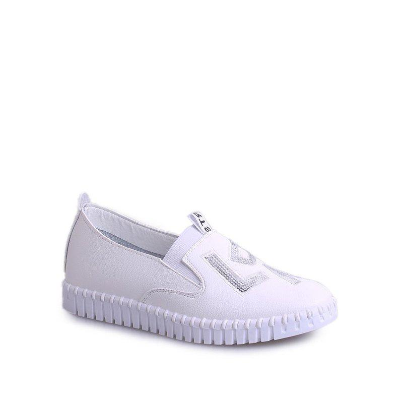 Casual Leather Platform Shoes - WHITE 37