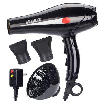 Warmlife 1875W Hair Dryer Professional Salon Powerful Ionic Blow Dryer Motor Styling Tool - 2 Speeds 3 Heat Settings - BLACK BLACK