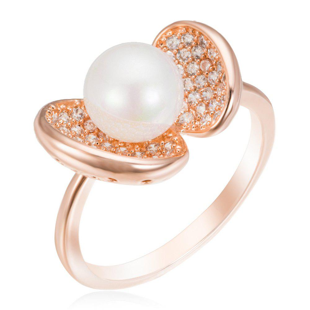 Copper Pearl & Rehinestone Lady'S Ring - ROSE GOLD 7