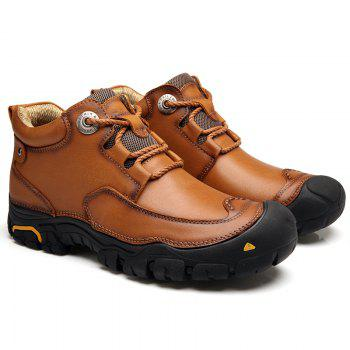 Fashion Anti-slip Mid Top Leather Boots for Men - BROWN BROWN