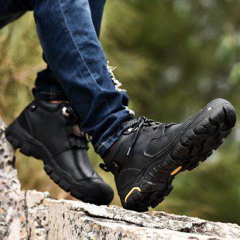 Fashion Anti-slip Mid Top Leather Boots for Men - BLACK BLACK