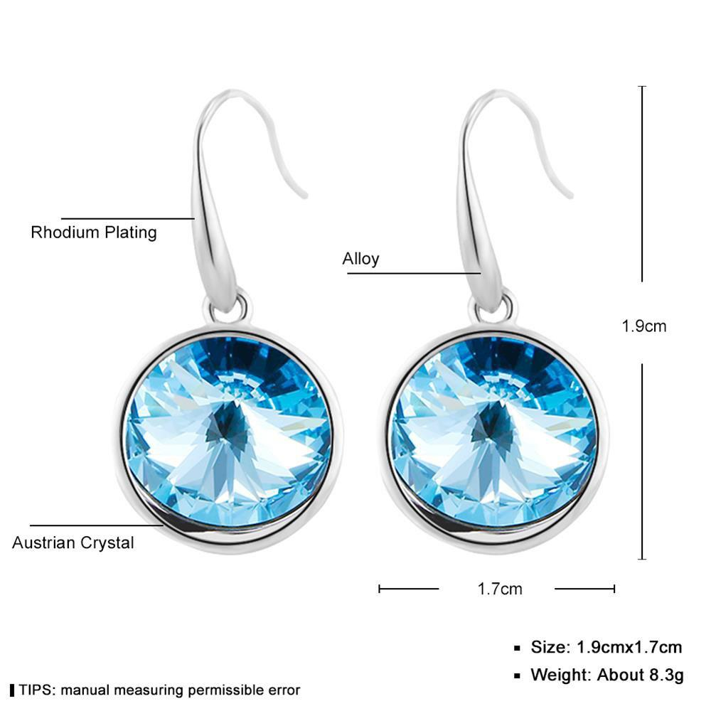 Sterling Silver Round Blue Simulated Sapphire Womens Dangle Earrings - SILVER/BLUE