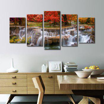 Stetched 5 Panels Red Tree Waterfall Landscape Modern Wall Art for Livingroom Decoration Ready To Hang - COLORMIX COLORMIX